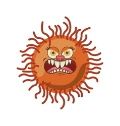 Silhouette orange with bacteria cartoon shape vector