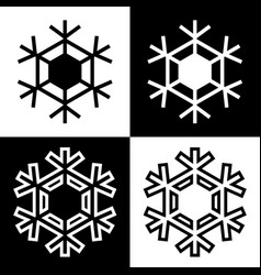 snowflake symbols icons simple black white set 9 vector image