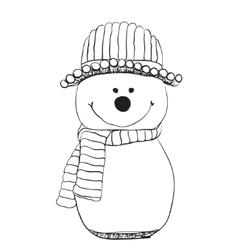 Snowman icon in doodle sketch lines Snow winter vector image