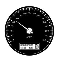 Speedometer 90 km per hour black flat vector