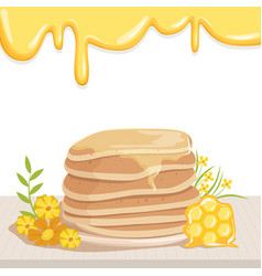 Stack of tasty pancakes watered with honey cute vector