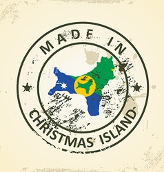 Stamp with map flag of Christmas Island vector image