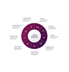 stock market infographic 10 steps circle design vector image