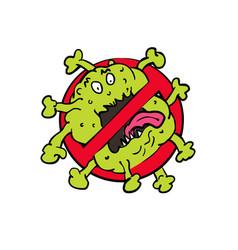 Stop coronavirus cartoon sign vector