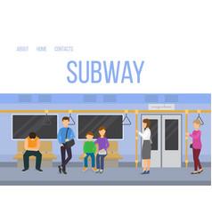 subway underground train car interior with vector image