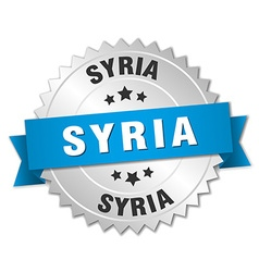Syria round silver badge with blue ribbon vector
