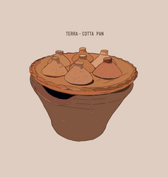 Terracotta pan for kanom krok vector