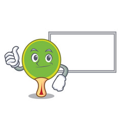 thumbs up with board ping pong racket character vector image