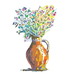 Vase and flower sketch for gretting card vector image