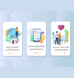 volunteering mobile app onboarding screens vector image