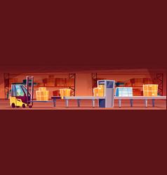 Warehouse worker at conveyor vector