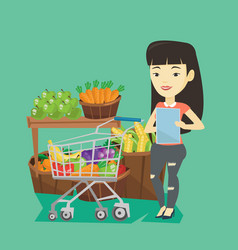 Woman with shopping list vector