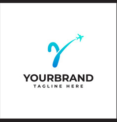 Y letter travel company logo airline business vector