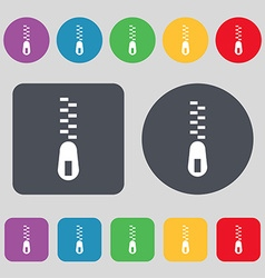Zipper Icon sign A set of 12 colored buttons Flat vector
