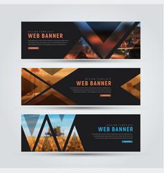 design of black horizontal web banners vector image vector image