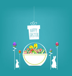 easter poster hanging eggs on blue background vector image vector image