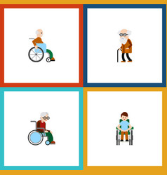 flat icon handicapped set of wheelchair disabled vector image vector image