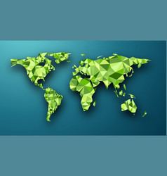 green geometric abstract world map vector image