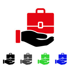 Hand holding case flat icon vector