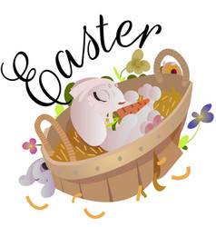 happy and cute easter bunny sitting in basket with vector image