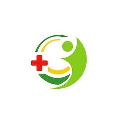 hospital medic cross people logo vector image vector image