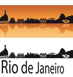 Rio de Janeiro skyline in orange background vector image vector image