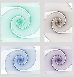 Fractal spiral page background design set vector