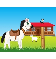 House on nature and animals vector image