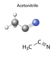Structural chemical model of acetonitrile vector image vector image