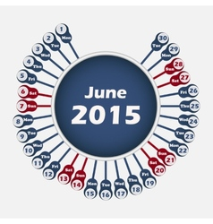 calendar 2015 June template vector image