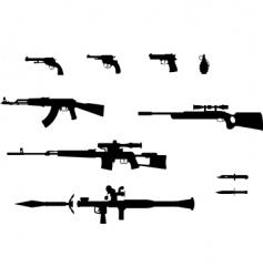gun silhouettes set vector image vector image
