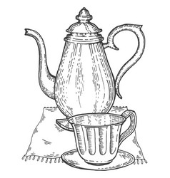 old vintage teapot and cup engraving style vector image vector image