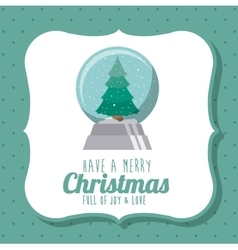 pine tree and sphere of Merry Christmas design vector image