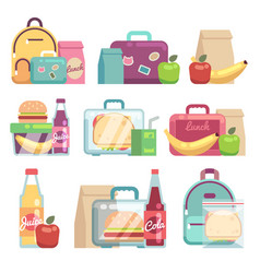 school snacks bags healthy food in kids lunch vector image