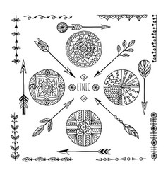 set of creative boho style frames mady by ethnic vector image vector image