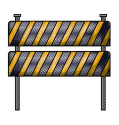traffic fence flat icon in colored crayon vector image vector image