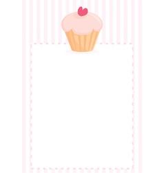 Cupcake with heart sweet pink menu vector image vector image