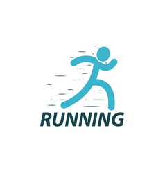 running logo design template vector image