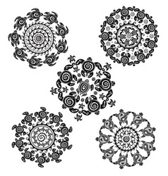 set with round pattern from decorated turtles vector image
