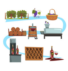 wine production process stages production vector image vector image