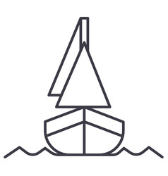 yacht front veiw line icon sign vector image