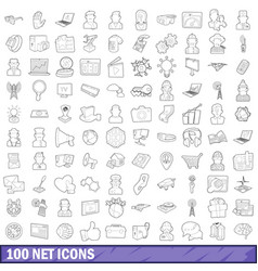 100 net icons set outline style vector image