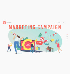 360 degree marketing landing page template tiny vector