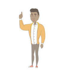 African man with open mouth pointing finger up vector