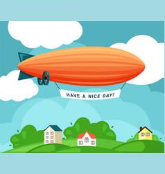 airship over village festive orange vector image