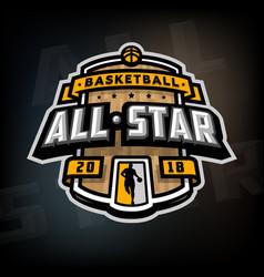 all stars basketball logo emblem vector image