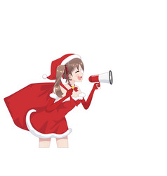 anime manga girl dressed in santa claus costume vector image