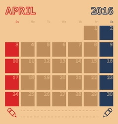 April 2016 monthly calendar template vector