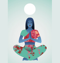 beautiful indian girl doing yoga or meditation vector image
