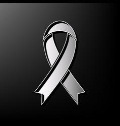 Black awareness ribbon sign gray 3d vector